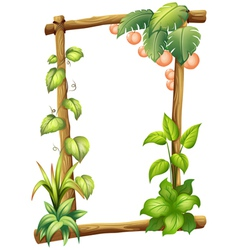 A frame made of woods with plants vector image
