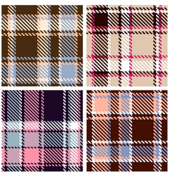 Seamless checkered plaid pattern set vector