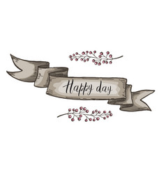 Decorative card with kraft ribbon and branches vector