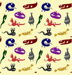 Pattern with monsters vector