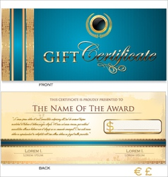 Blue gift certificate template vector