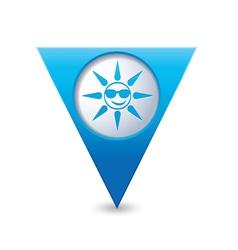 sun symbol map pointer blue vector image