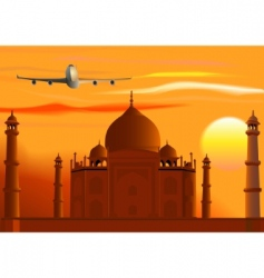Taj mahal sunset jet vector