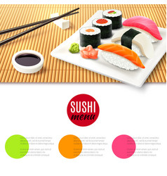 Sushi and bamboo mat vector