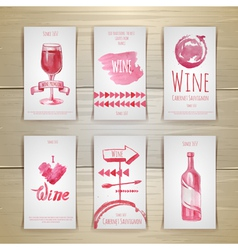 Set of art wine cards and labels design vector