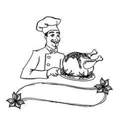 Chef holding a plate of roast turkey vector