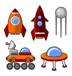 Spaceships icons set vector