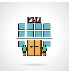 Hospital facade colorful icon vector