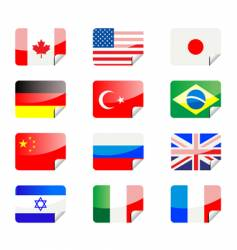 Flag stickers vector