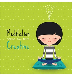 Meditation creative woman cartoon vector image