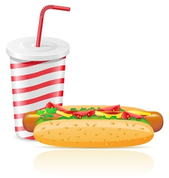 Paper cup with soda and hotdog vector
