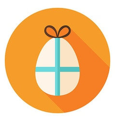 Easter egg with bow circle icon vector