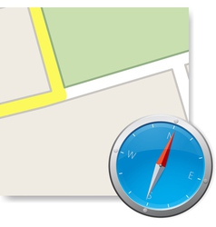 Compass and part of map illustraton vector