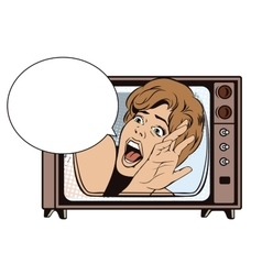 People in retro style girl screaming in horror vector