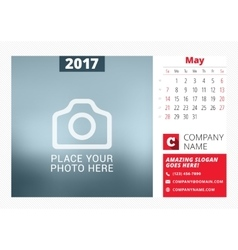 Desk calendar template for 2017 year print vector