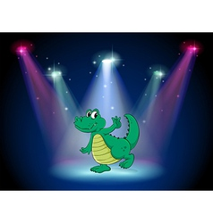 A crocodile dancing in the middle of the stage vector image vector image