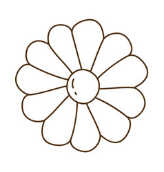 brown silhouette with daisy flower in closeup vector image