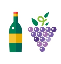 Bunch of grapes and wine bottle vector