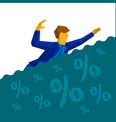 businessman is drowning in debt and loans vector image vector image