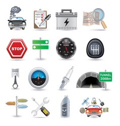 car parts and icons vector image