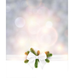 christmas background with white bow vector image