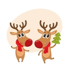 Christmas reindeer in red scarf cartoon vector