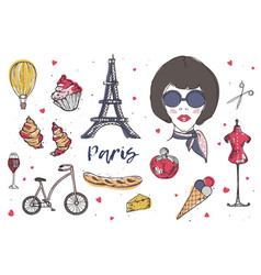 Collection of paris and france elements - vector