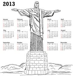 cristo redentor 2013 calendar vector image vector image