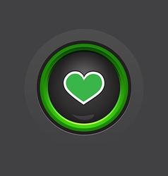 Dark glossy circle heart button vector