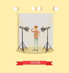 Flat of male model in casual vector