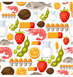 Food allergy seamless pattern with allergens and vector