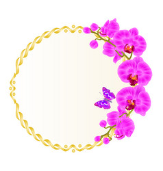 foral round golden frame with orchids purple vector image vector image