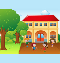 Four kids hulahoop and jump rope at school vector