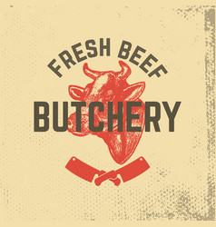 fresh beef butchery hand drawn cow head on grunge vector image vector image