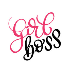girl boss text on white background vector image vector image