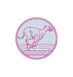 Greyhound dog racing circle mono line vector