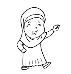 hand drawing muslim girl cartoon with victory vector image vector image