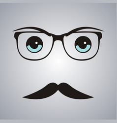 hipster man face on gray background vector image vector image