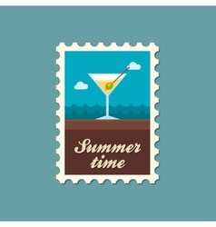 Martini Cocktail stamp Summer Vacation vector image