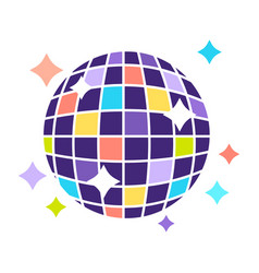Night club disco ball with sparkling lights party vector