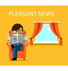Pleasant news concept businessman reading vector