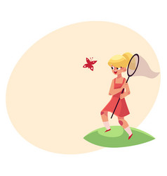 Pretty little girl catching butterfly with net vector