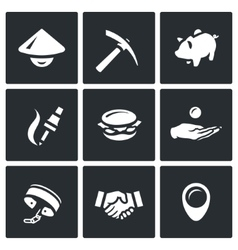 Set of cheap labor icons worker tool vector