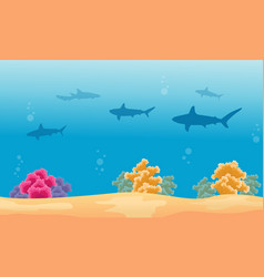Silhouette of shark with coral reef landscape vector