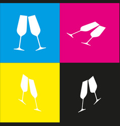 Sparkling champagne glasses white icon vector