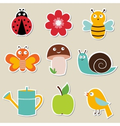 Summer garden stickers set vector