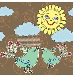 sunshine weather with rain vector image vector image
