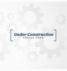 under construction text with gears vector image vector image