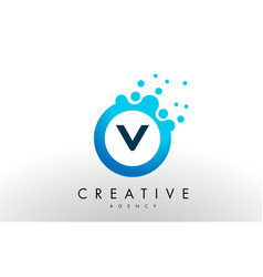 v letter logo blue dots bubble design vector image vector image