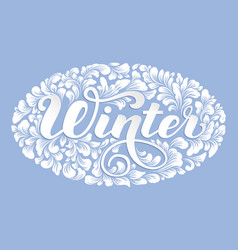 Winter lettering decorated with floral vector